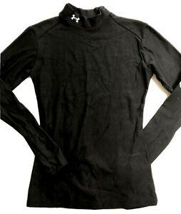 Womens Shirt UNDER ARMOUR MEDIUM MD Black compression Long Sleeve Thicker (ra49)