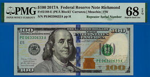 TOP POP Repeater - 2017-A $100 FRN ( Finest Known Repeater 06330633 ) PMG 68EPQ-