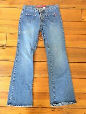 Hot Kiss USA Made Low Rise Distressed Wash Boot Cut Button Fly Womens Jeans 5