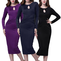 Womens Ladies Long Sleeve Bodycon Dress Cocktail Evening Party Pencil Midi Dress