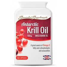 Antarctic Krill Oil HIGHEST QUALITY Omega 3 Fish Oil with Astaxanthin - 60 caps