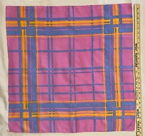 "Vintage Schiaparelli geometric cotton scarf, 26"" square, pink, powder blue, gold"