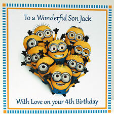 Personalised Handmade Minions Birthday Card - Son, Daughter  any text