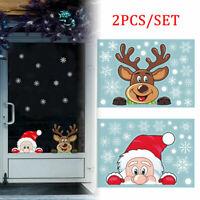 2x Weihnachten Aufkleber Weihnachtsmann Weihnachtsbaum Xmas Fenster Sticker Deko