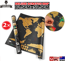 2× Deluxe Large Scratch Off World Map Personalized Travel Poster Atlas Decor