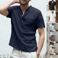 Men's Baggy Cotton Linen Short Sleeve Shirt Solid Retro T Shirts Tops Blouse Tee