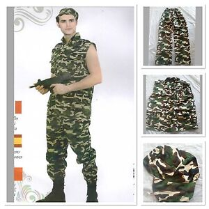 Mens Khaki Camo Army Military Uniform Soldier Costume Halloween Fancy Dress