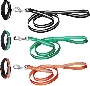 """Reflective Leash 48 ½ """"- 123 cm and Padded Collar for Medium and Large Size Dogs"""