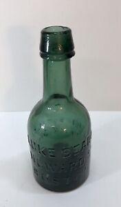 Teal LUKE BEARD BOSTON Soda Bottle w/ Bare IMPROVED IRON PONTIL