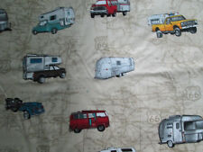 Retro Trailers Campers Rvs Vw Bus Motorhomes Route 66 Map Cotton Fabric Fq