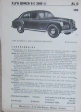 * Alfa Romeo 6-C  2500 1950 Datenblatt  original *
