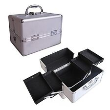 "10"" Pro Aluminum Makeup Train Case Jewelry Box Cosmetic Organizer Silver 4 Trays"