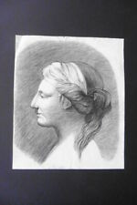 FRENCH SCHOOL 18thC - PORTRAIT YOUNG WOMAN - FINE CHARCOAL DRAWING