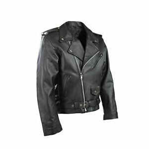 Neuf Hommes Moto Perfecto Brando 100% Véritable Cuir Veste Noir Motard 3XL M L