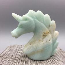 """2.0"""" Natural amazonite Quartz Crystal Unicorn Carving Horse head Skulls Figurine"""