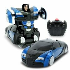 Kids Toys RC Wall Climbing Transforming Robot Car For Boys 1:24 Scale Blue