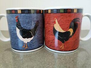 Warren Kimble Country Quartet Coffee Mugs Cup Rooster Brandon House Sakura Set 2