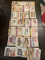 Vintage 1970's Sewing Patterns Women's Sizes Hippie Boho Lot 28 Cut Uncut