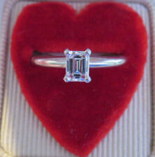 18K & PLATINUM GIA CERTIFIED VVS2 DIAMOND EMERALD CUT SOLITAIRE ENGAGEMENT RING