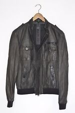 **BRAND NEW** REPLAY Mens Leather Bomber Jacket Medium moto