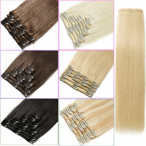 DoubleWeft Clip-on Hair Extensions Clip In Indian Remy Human Hair Full Head 8pcs