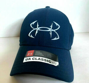 NEW Under Armour Mens Fish Hook Coolswitch Fitted Cap-Navy/White [L/XL]