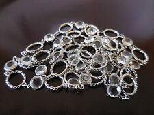 """VINTAGE  BEZEL CRYSTAL CLEAR SILVER T RING   NECKLACE 40"""" C12"""