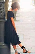 Zara Navy Tulle Midi Dress Size XS UK 6 BNWT