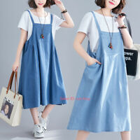 Womens Casual Loose Denim Overall Dress Bib Suspender Pinafore Dresses Skirt