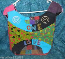 "One Love Purse Tablet Book File Bag NEW Patch work multi color Zipper Cotton 14"""