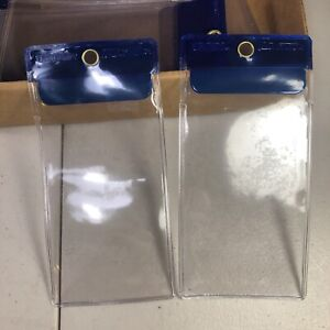 New Open Box 89 ULINE Blue Vinyl Tag Protector Holder Pouch 2 3/8 X 4.75 A-7249D