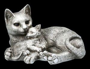 Katzen Figur mit Baby - Antik Silber - Katzenfamilie Kätzchen Katzenmama Deko