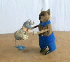 Vintage toy pre war SCHUCO Germany - MOUSE WITH BABY maus und baby - work - 30s