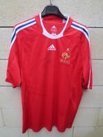 VINTAGE Maillot EQUIPE de FRANCE dédicacé ADIDAS away shirt rouge XL