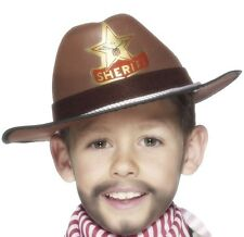 Childrens Boys Cowboy Sheriff Hat Fancy Dress Brown New by Smiffys