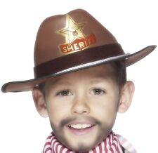 Childrens Boys Cowboy Sheriff Hat Fancy Dress Brown New by Smiffys