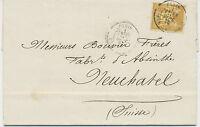 FRANKREICH 1879 25 C Allegorie gelbbraun a. gelb EF Kab.-Bf n. Neuchatel Schweiz