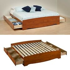 cherry platform bed frame king size wood bedroom furniture 6 drawers storage - King Size Platform Bed Frame With Storage