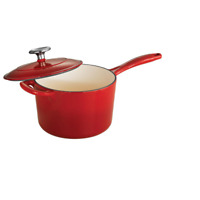 Gourmet 2.5 QT Porcelain Enameled Cast Iron Sauce Pan Gradated Red W/ Lid