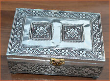 Wooden White Metal Jewelry Box, Decorative Box, Multipurpose Box from India