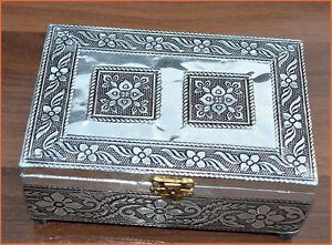 Wooden White Metal Jewelry Box, Decorative Box, Multipurpose Box from India