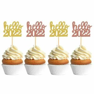 Kids Gifts Glittering Cake Toppers Cupcake Decor Happy New Year Hello 2022