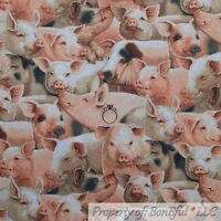 BonEful FABRIC FQ Cotton Quilt Brown Pink B&W PIG Farm Animal BBQ Pet Food Baby