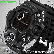 Sanda Men Sport Watches Military Digital Waterproof PU Band LED display Watches