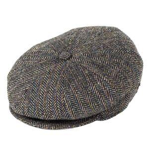 Bailey Hats Galvin Wool Bakerboy Cap - Black Herringbone