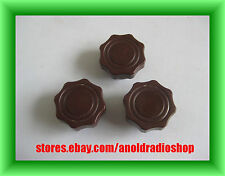 Lot of 3 Daka-Ware Maroon fluted guitar amp equipment knobs with brass inserts