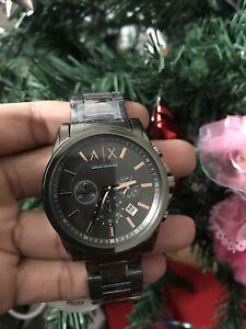 Armani Exchange Chronograph Grey Dial Gunmetal Ion-plated Men's Watch AX2086