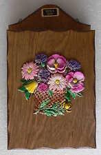 boite à clés en bois vernis avec décor fleuri