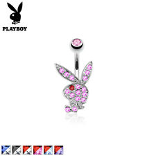 Surgical Steel Playboy Bunny Belly Bar / Navel Ring With Multi Paved Gems