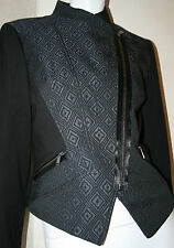 Elie Tahari midnight black biker Viola jacket new az 8 diamond texture